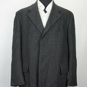 Brooks Brothers Tweed Gray Woven Wool Flannel Coat